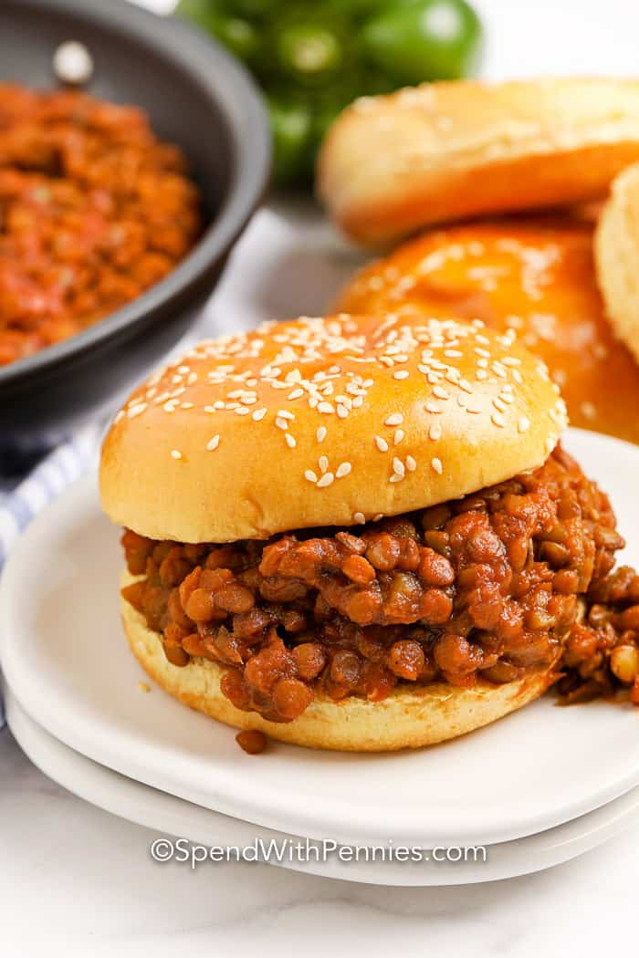Lentil Sloppy Joes on sesame seed bun
