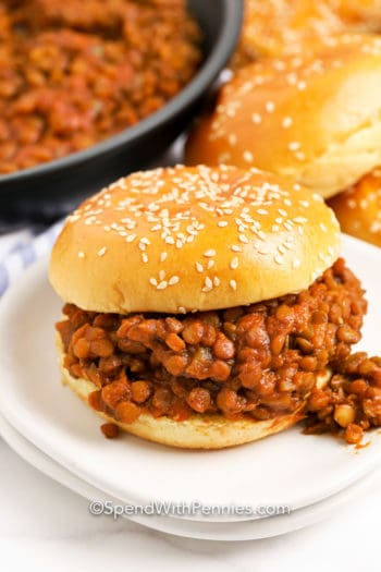 Lentil Sloppy Joes on a plate