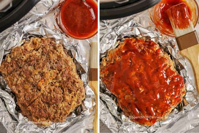 meatloaf before and after brushing with glaze