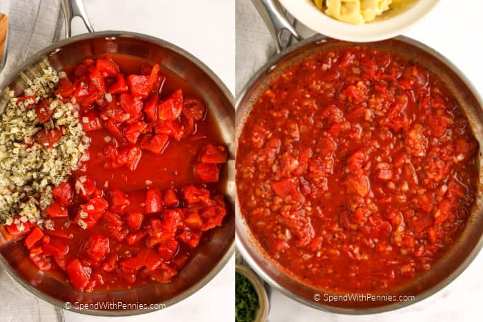 Overview of ingredients for tomato sauce for tortellini in a frying pan.