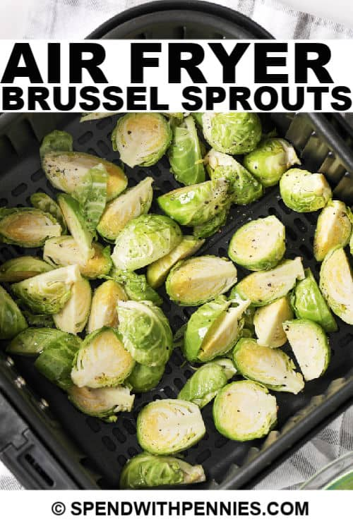 Air fryer brussel sprouts with writing uncooked