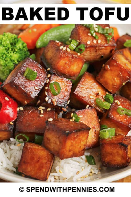 Close up of baked tofu served over rice with writing