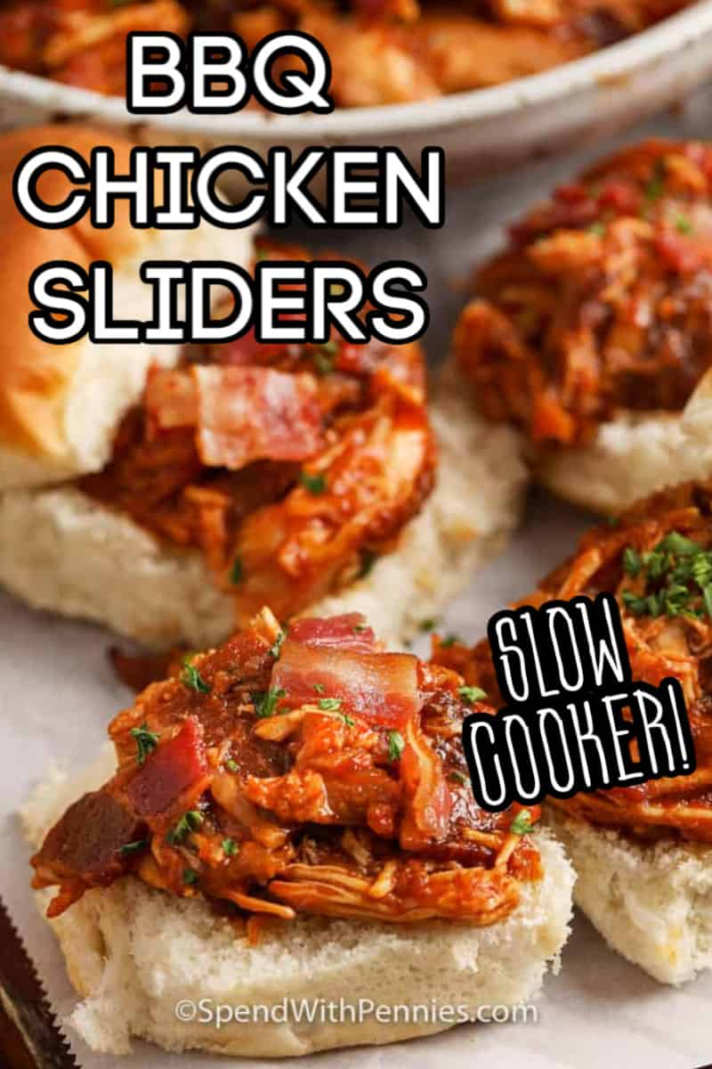 Open faced BBQ chicken sliders.