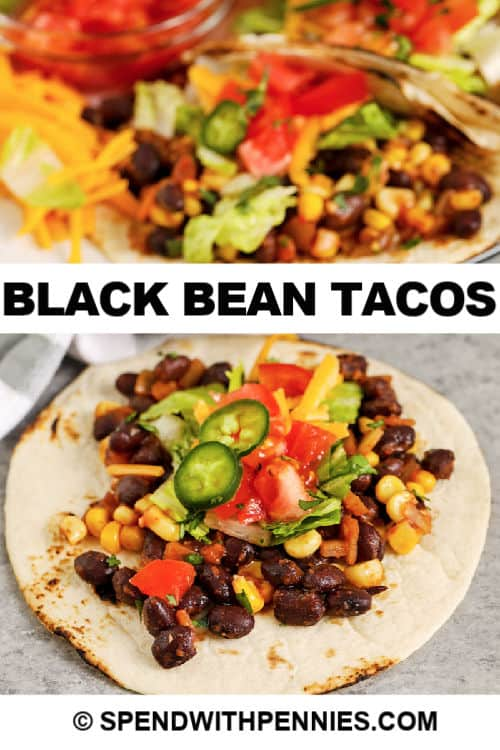 A plate full of prepared black bean tacos topped with lettuce, tomatoes, and jalapeños.