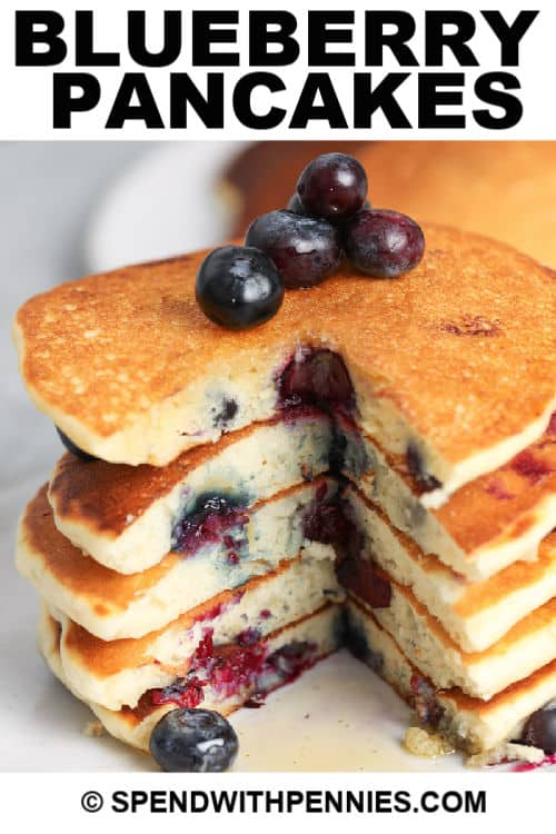 Stack of Blueberry Pancakes with a title