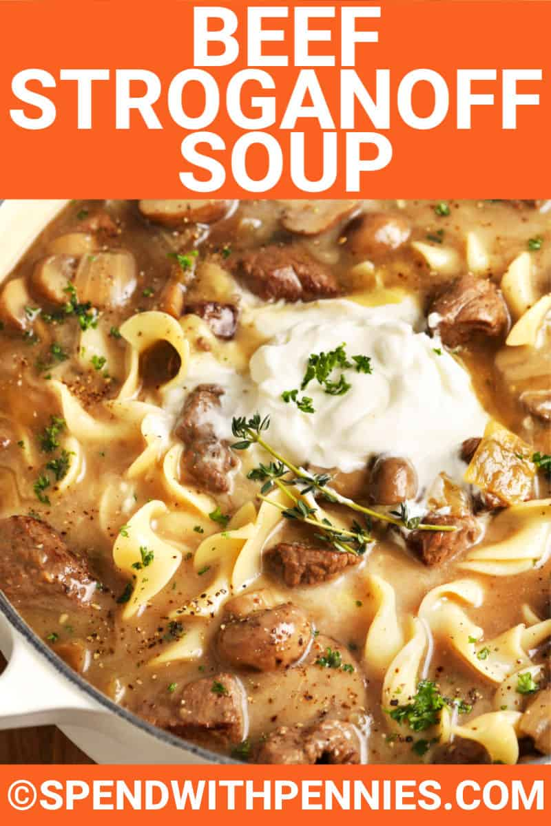 Beef Stroganoff Soup with sour cream and title