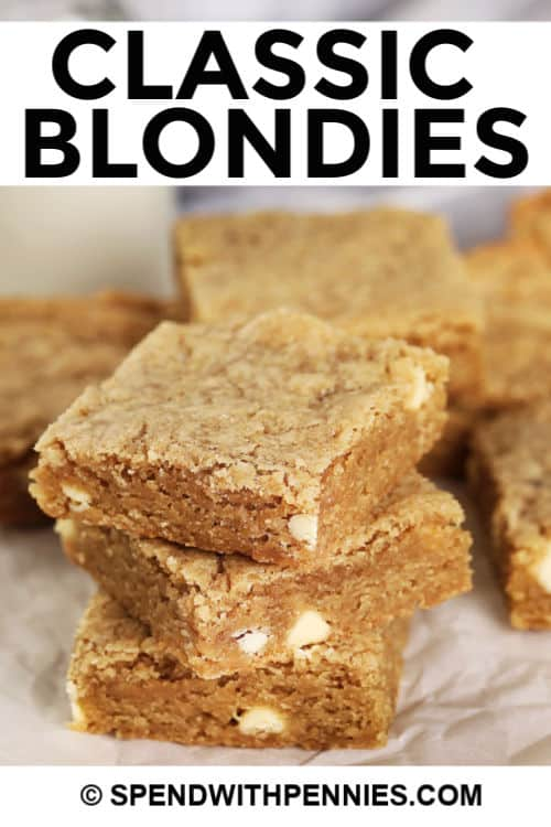 Blondies piled up with title