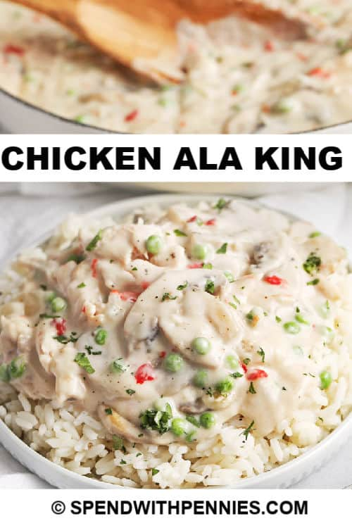 A serving of Chicken ala King with writing
