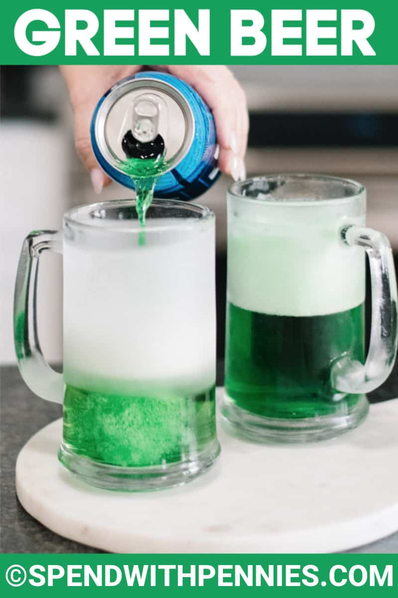 Green beer in mugs with a title