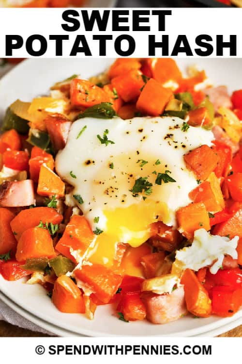 a serving of sweet potato hash with writing