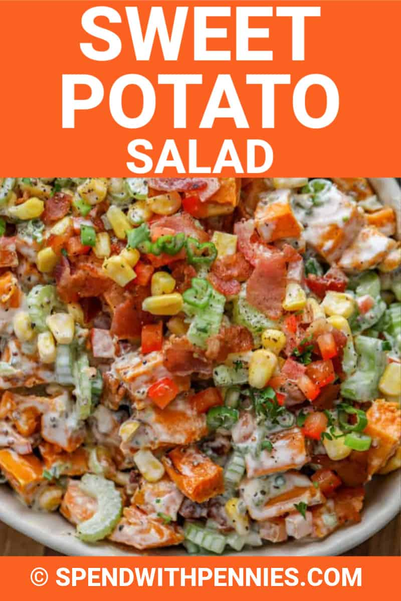 Sweet potato salad in a serving bowl with writing