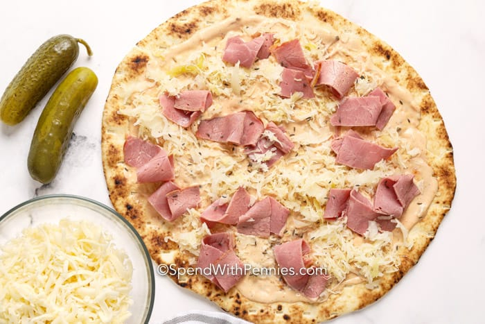 Prepared reuben pizza