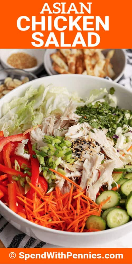 Asian Chicken Salad ingredients in a white bowl and small bowls of ingredients in backgroundand writing