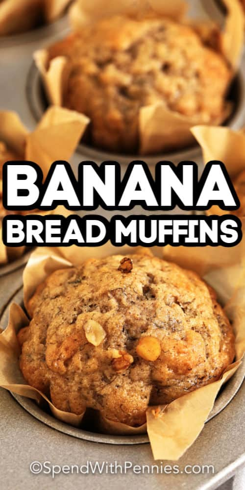 Banana Bread Muffins in a baking pan with writing