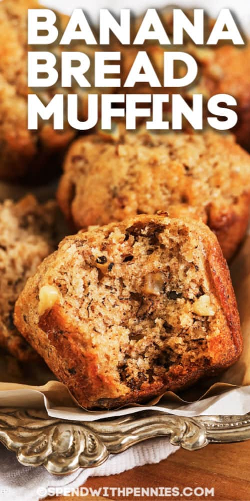 Banana bread muffins with text
