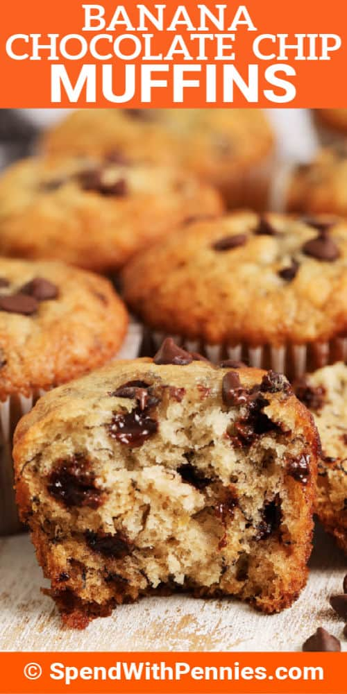 Banana Chocolate Chip Muffins on a cutting board with a title