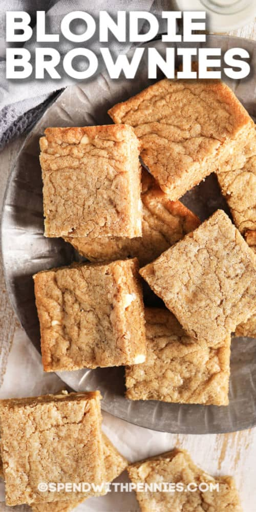 Blondies on a silver plate and writing