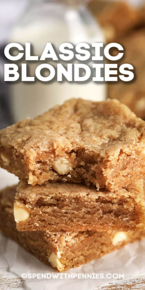 Blondies with a bite from it and title