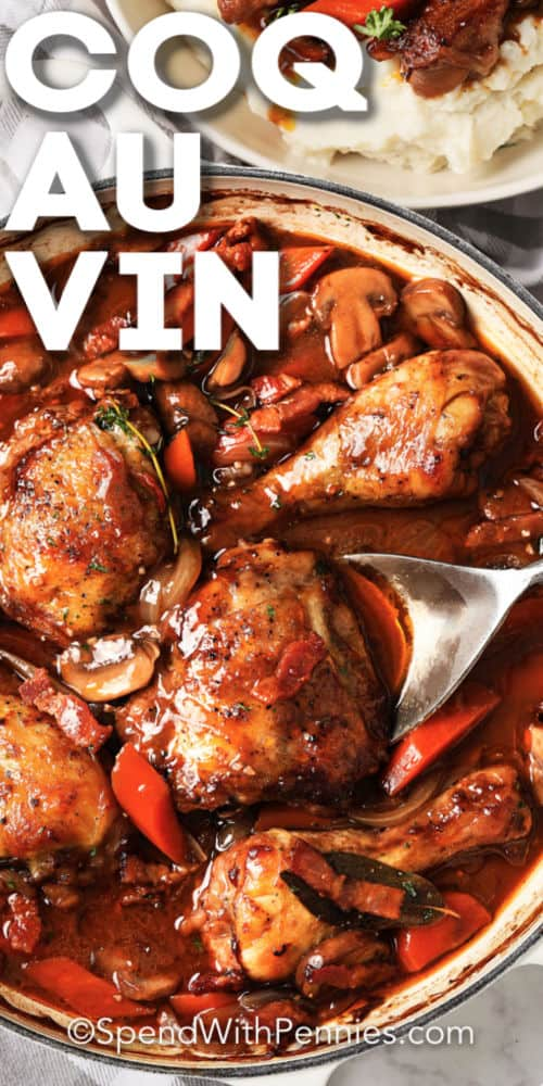Coq au vin being served with text overtop.
