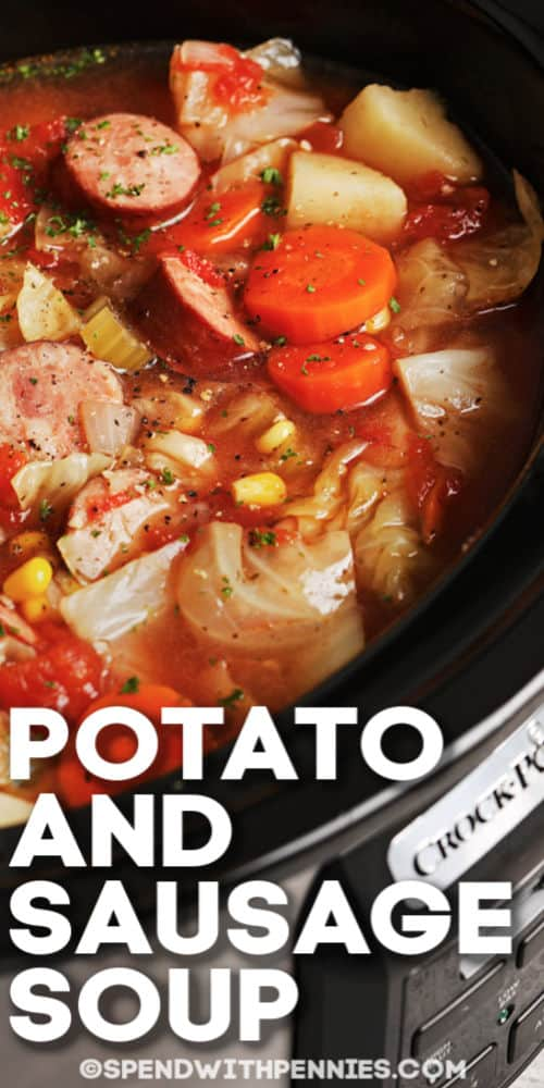 Potato and Sausage Soup in a crock pot with writing