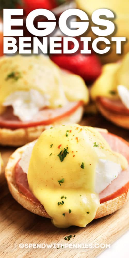 Eggs benedict with writing