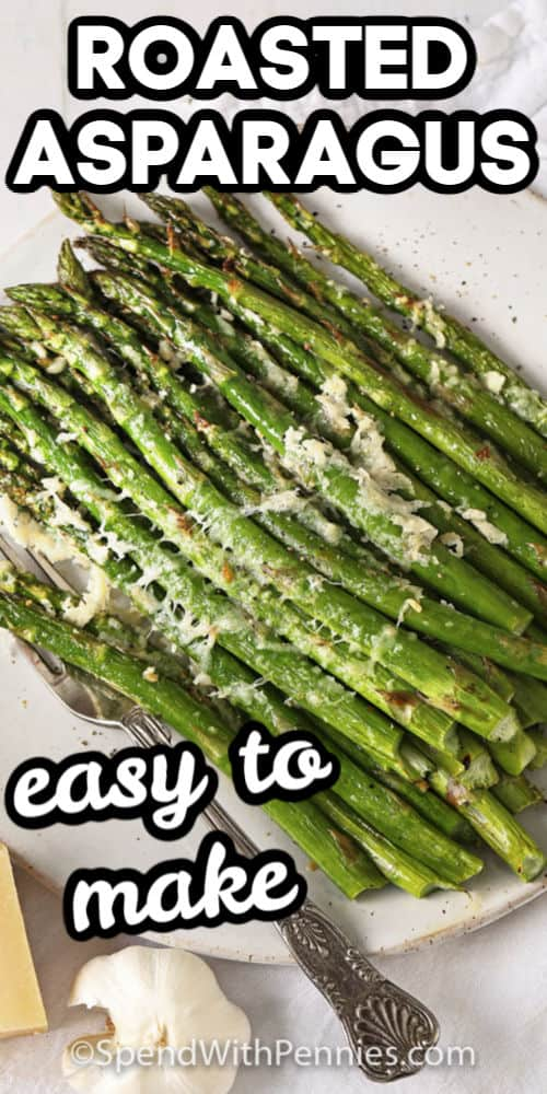 roasted asparagus on a plate with writing