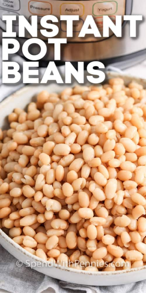 Close up of a bowl of instant pot beans with writing