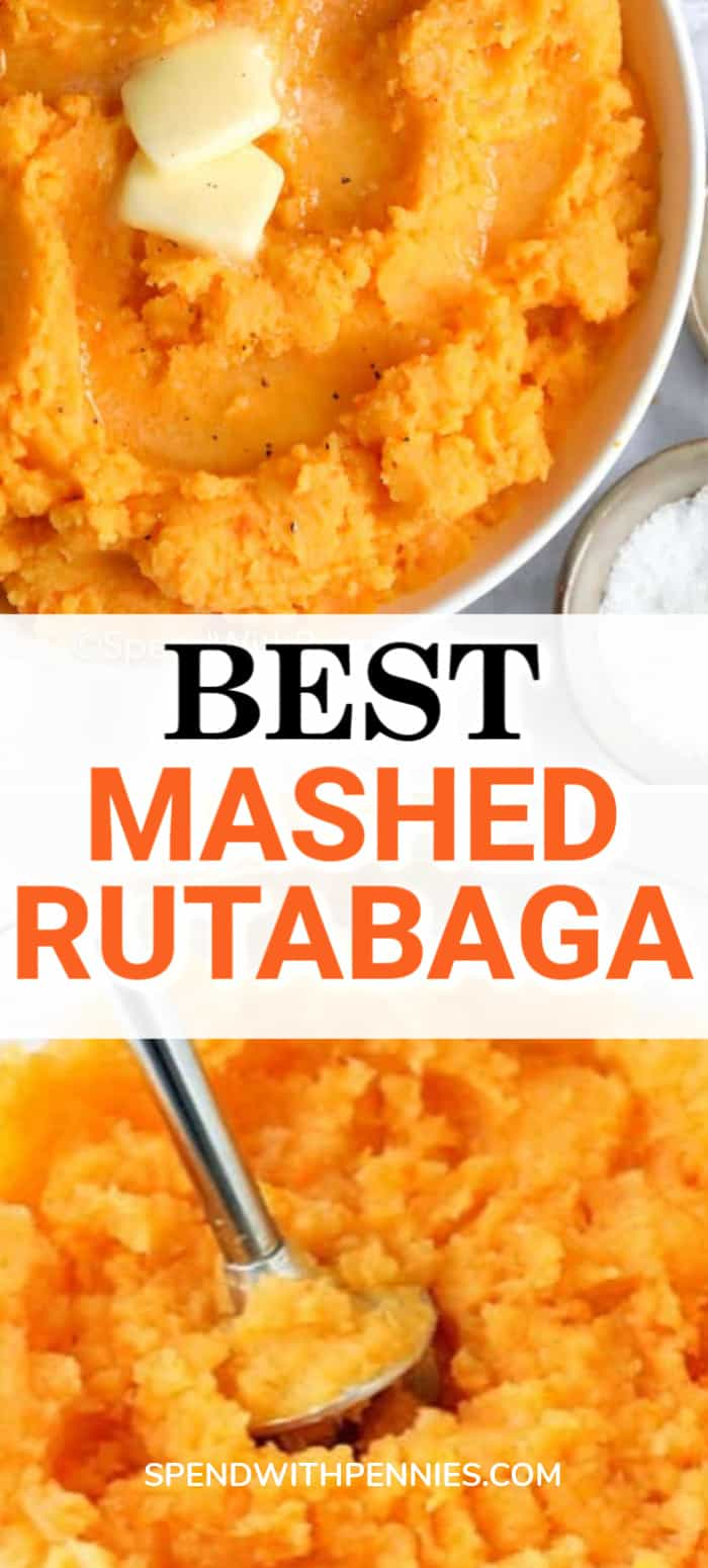 Mashed rutabaga with an immersion blender and in a bowl with squares of butter and a title