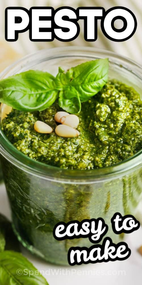 Homemade Pesto with Basil in a jar with writing