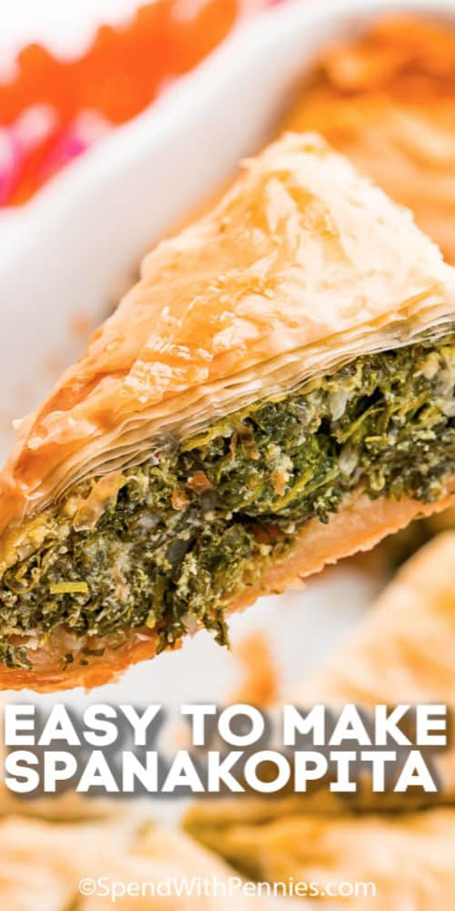 A slice of Spanakopita with text