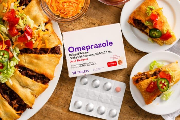 Taco ring on plates with Omeprazole