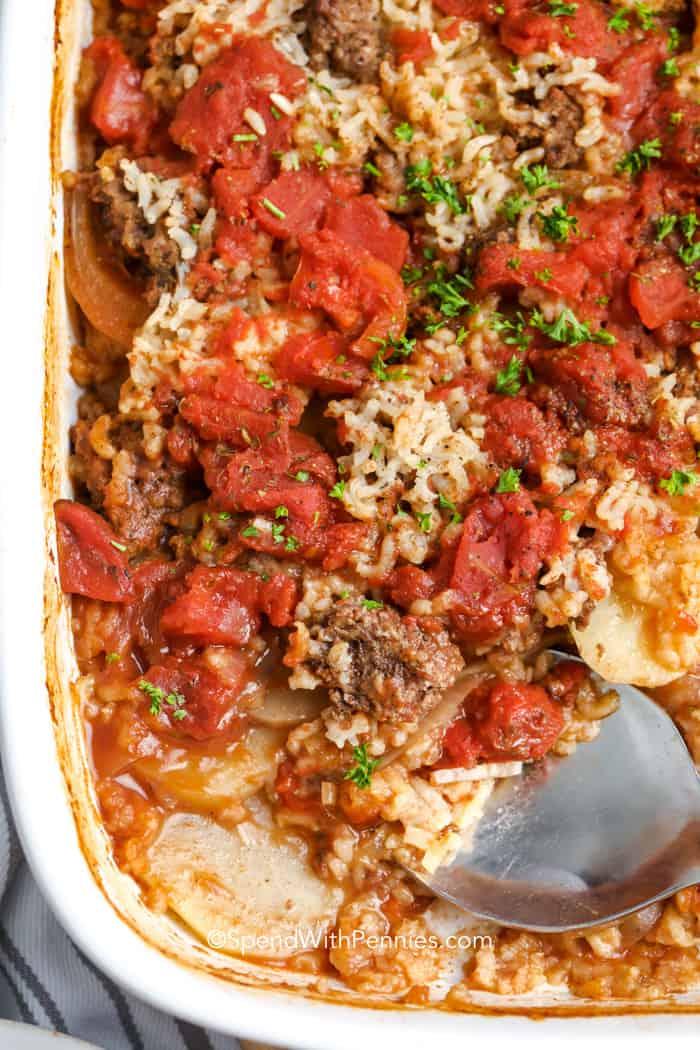 Hamburger Potato Casserole in a baking dish
