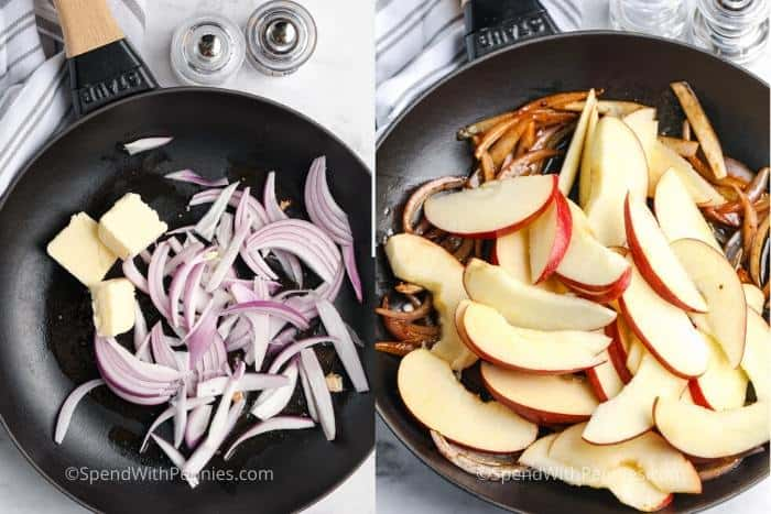 process of frying ingredients to make Fried Pork Chops with Apples