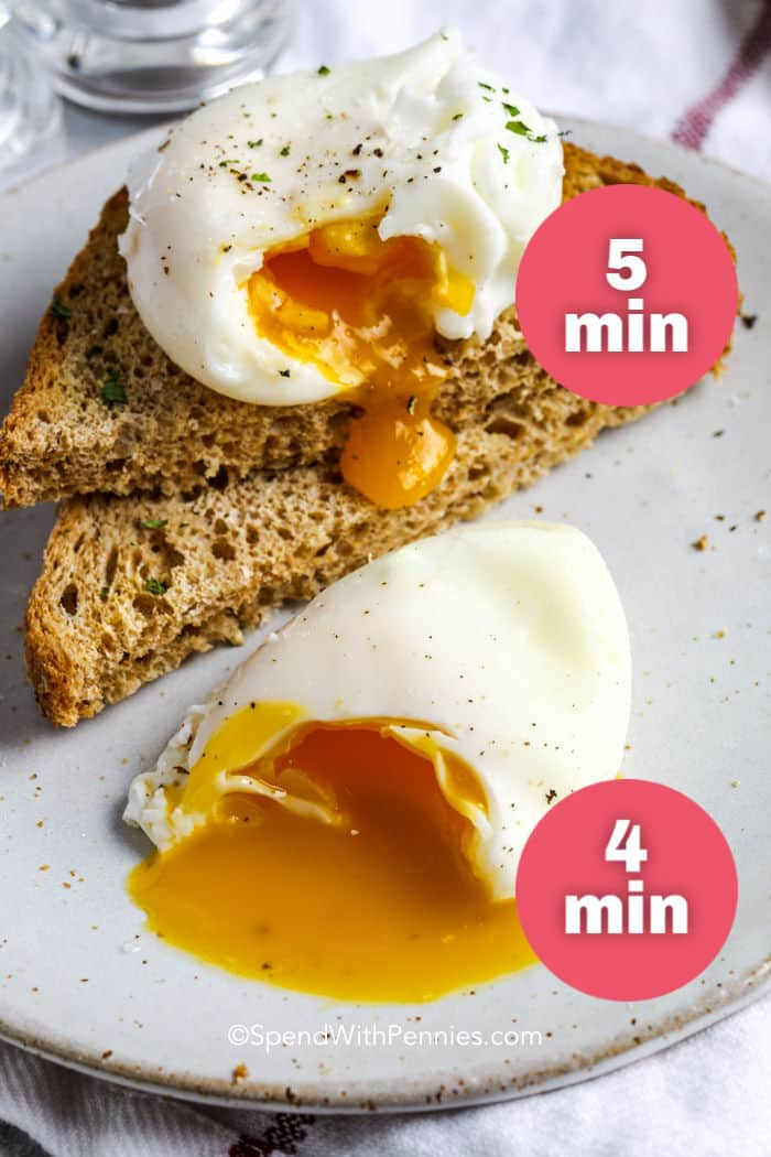 4 minute and 5 minute poached eggs with toast