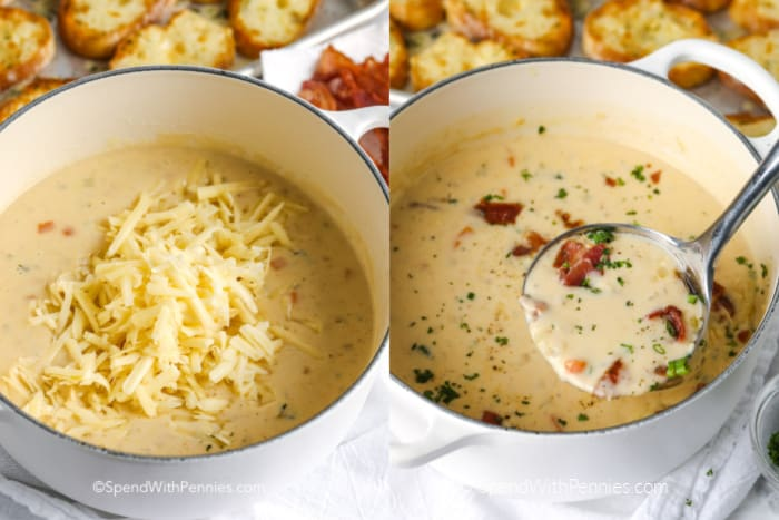 adding shredded cheese to beer cheese soup and serving with a ladle