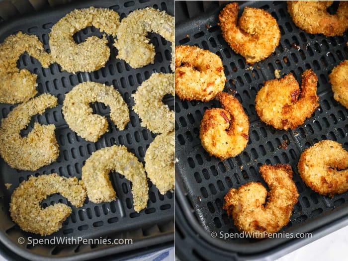 breaded shrimp before and after cooking in the air fryer