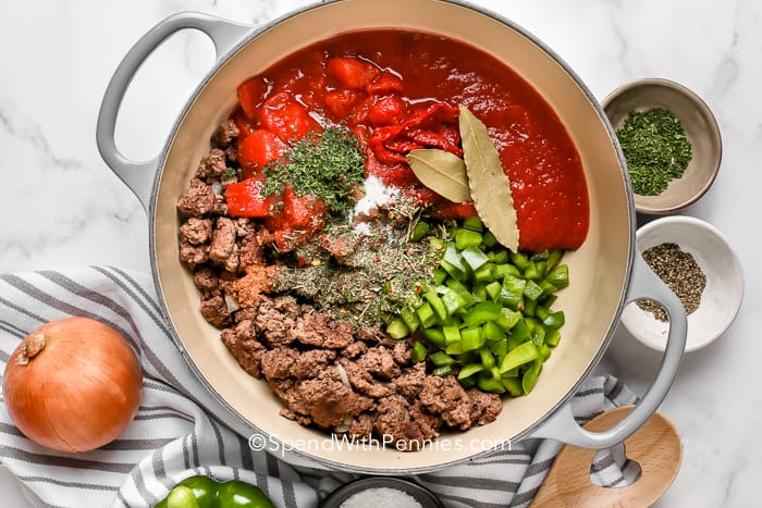 Overview of meat sauce ingredients in a saucepan
