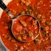 Meat sauce being served
