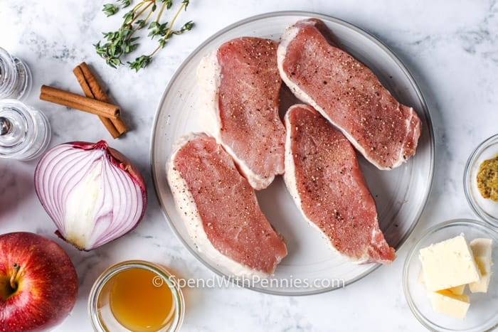 ingredients to make Fried Pork Chops with Apples