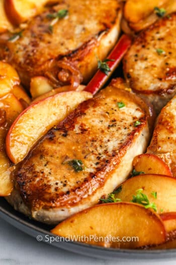 close up of Fried Pork Chops with Apples