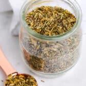 Greek Seasoning in a glass jar