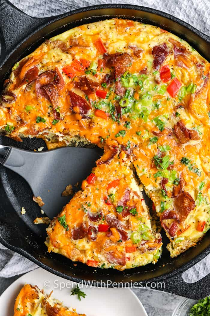 A frittata being served.