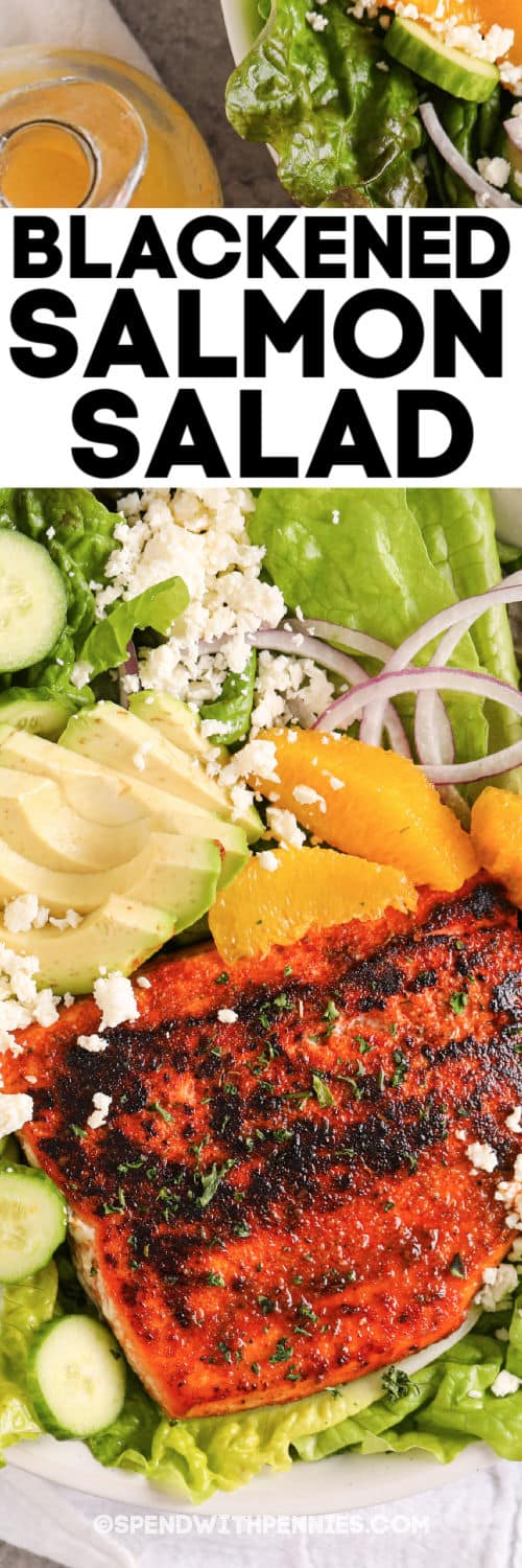 Blackened Salmon Salad with writing and salad dressing