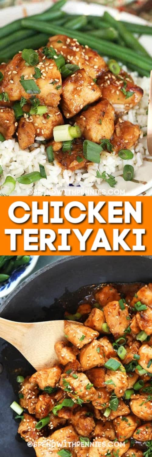 Teriyaki Chicken sprinkled with sesame seeds and green onions served on a white plate over a bed of rice and Teriyaki Chicken in a pan with a wooden serving spoon.