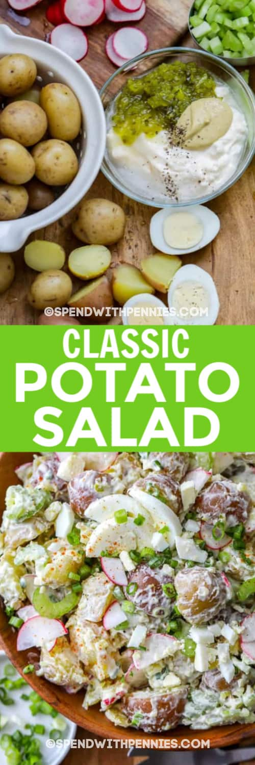 Ingredients to make potato salad assembled on a wooden board, and potato salad in a wooden board under a title.