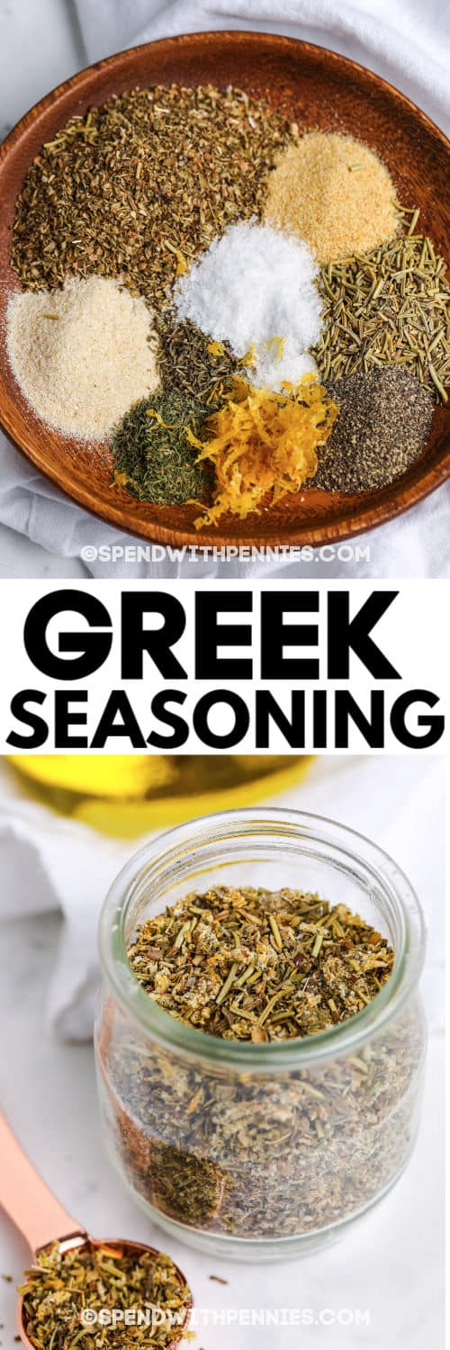 Top image - greek seasoning ingredients. Bottom image - greek seasoning in a jar with writing