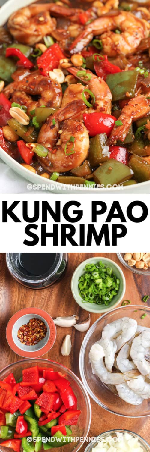 Kung Pao Shrimp ingredients and a photo of finished dish in a white bowl with writing