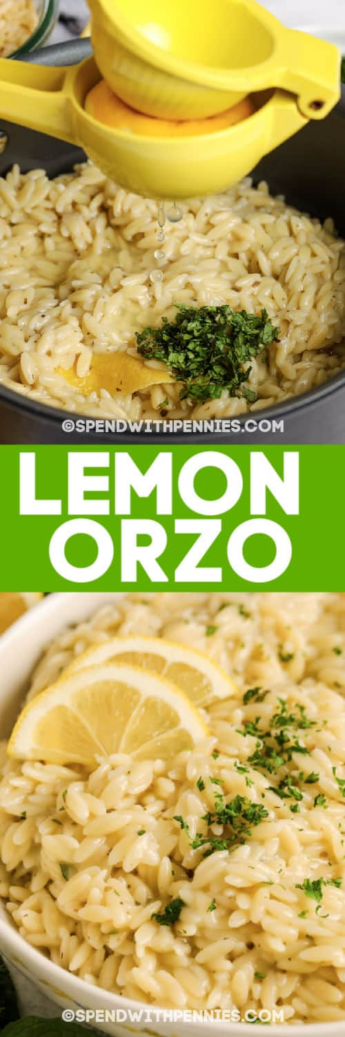 Lemon Orzo with lemon squeeze and writing