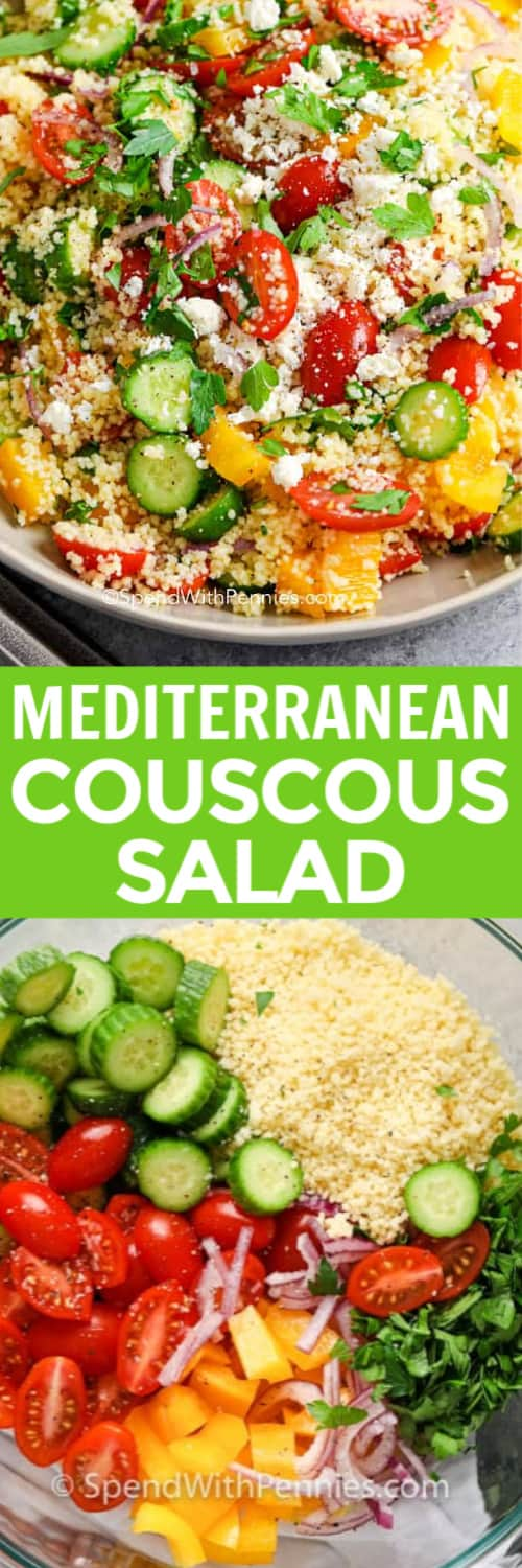 Couscous Salad in a bowl and ingredients for Couscous Salad with a title