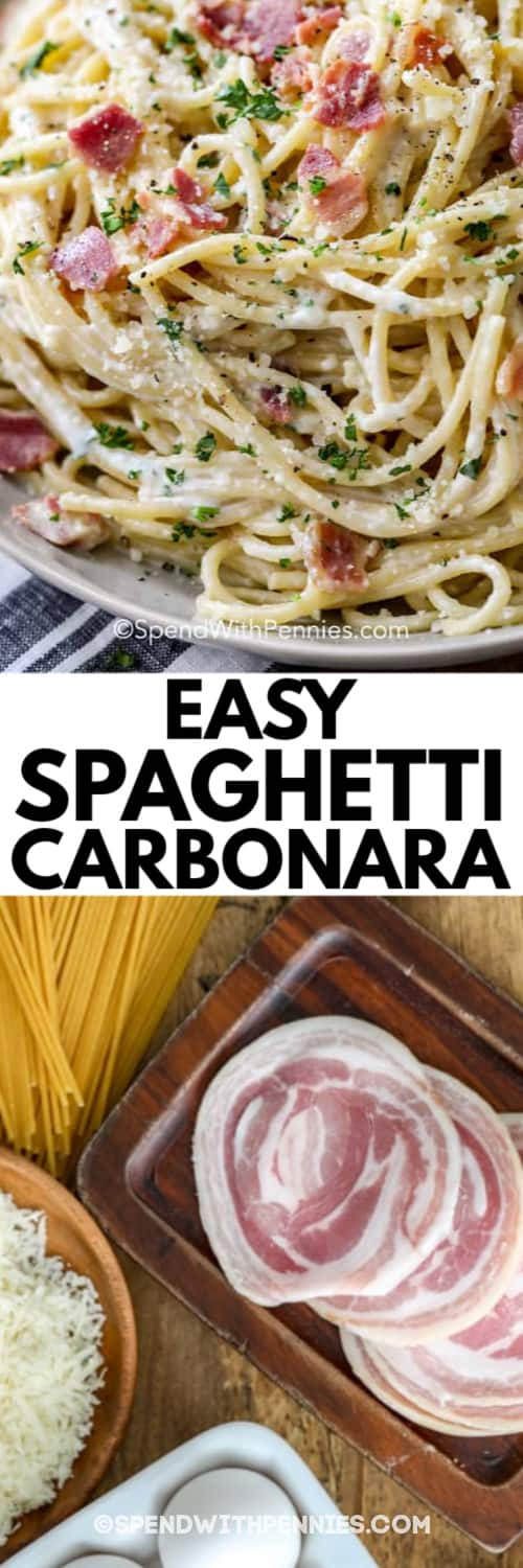 Spaghetti Carbonara in a bowl and the ingredients to make Spaghetti Carbonara laid out on a wooden board